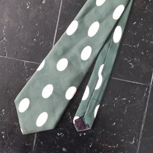 Green and White Polkadot J. Crew Necktie